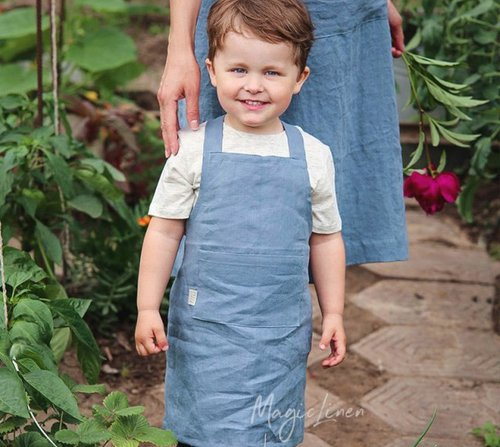 Dětská zástěra MagicLinen – modrá