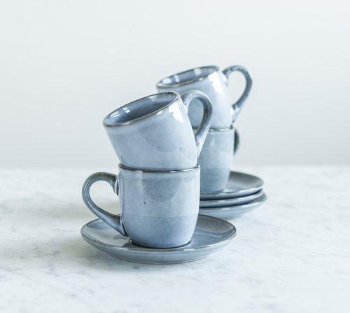 Hrneček s podšálkem Salt & Pepper Artisan – modrý