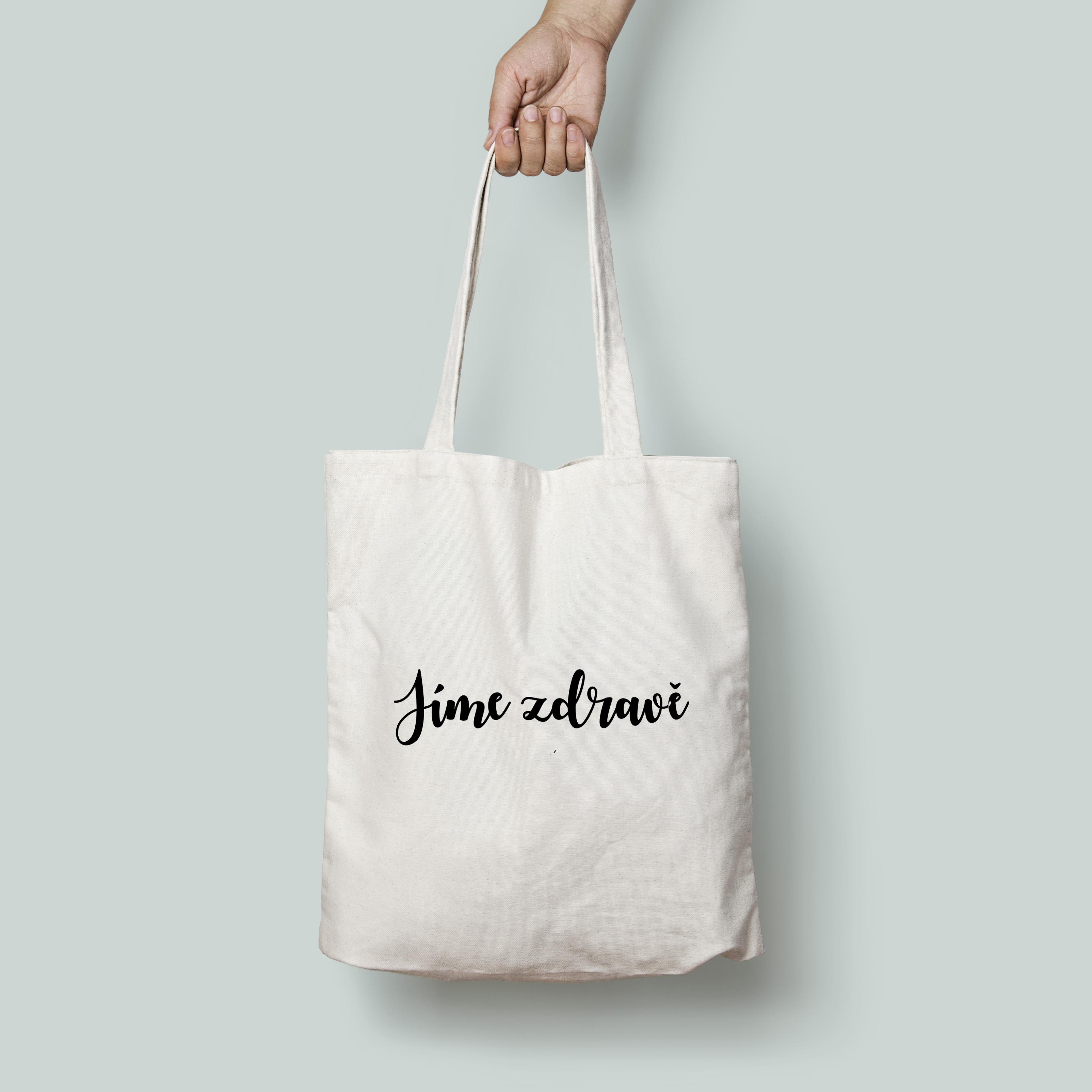 Plátěná taška s potiskem Jíme zdravě - béžová