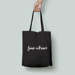 Plátěná taška s potiskem Jíme zdravě – černá